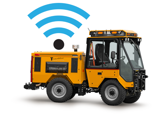 trackless vehicles mt7 sidewalk municipal tractor with wifi symbol above