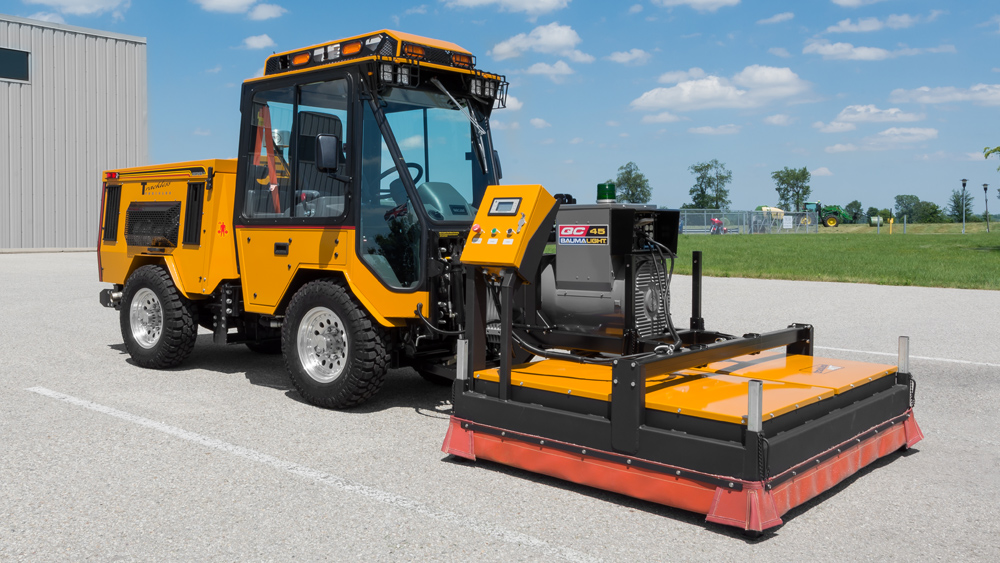 trackless vehicles infrared asphalt heater attachment on sidewalk tractor side view