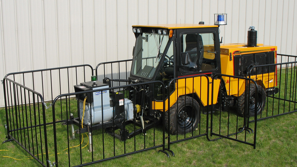 trackless vehicles infrared asphalt heater attachment on sidewalk tractor generator only